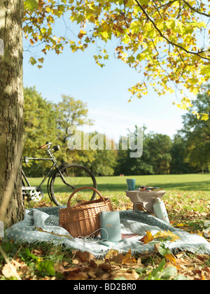 Picnic and bicycle in a field in Autumn - Stock Photo