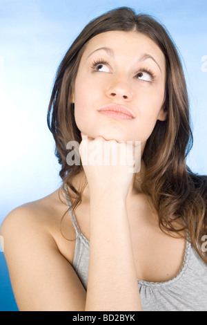 Portrait of wondering woman - Stock Photo