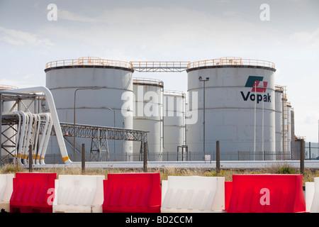 Oil storage depot on Teeside North East UK - Stock Photo