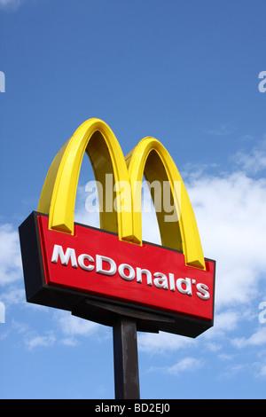 A McDonald's restaurant in a U.K. city. - Stock Photo