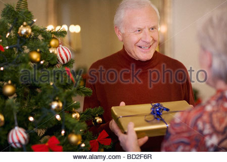 Couple with gift near Christmas tree - Stock Photo