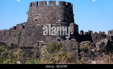Daulatabad 14th century fort near Aurangabad Maharashtra India - Stock Photo