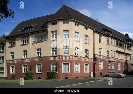 Route der Industriekultur, Friedrich Alfred Krupp, Arbeitersiedlung, Kruppsiedlung Friedrichshof in Essen, Ruhrgebiet, - Stock Photo