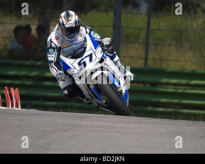 Session of official SBK testing at the Circuit Enzo e Dino Ferrari Imola - July 2009. LANZI ON DUCATI - Stock Photo