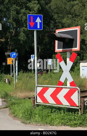 transport, traffic, road traffic, rail traffic, rail transport, railroad traffic, traffic signs, forest of traffic - Stock Photo