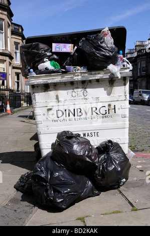 Rubbish remains uncollected on the streets of Edinburgh, Scotland, UK - Stock Photo