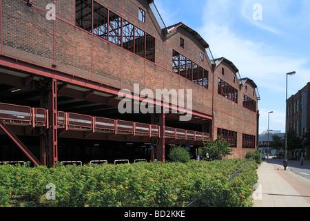Route der Industriekultur, Friedrich Alfred Krupp, Werkshalle, Press- und Hammerwerk Ost, Nutzung als Parkhaus durch - Stock Photo