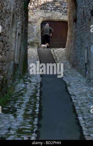 Rear view of an old Frenchman and his French Poodle dog in the village of Vaison la Romaine Provence France - Stock Photo