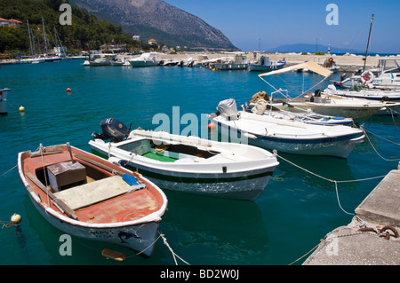 View over Poros harbour with local fishing and pleasure leisure boats on the Greek Mediterranean island of Kefalonia - Stock Photo