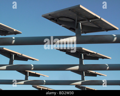 Solar panels mounted on roof - Stock Photo