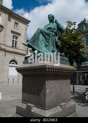 Statue of physician Rene Laennec in place de Quimper Finistere France - Stock Photo