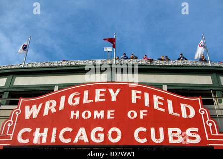 Famous marquee sign of Wrigley Field in Chicago Illinois USA  - Stock Photo