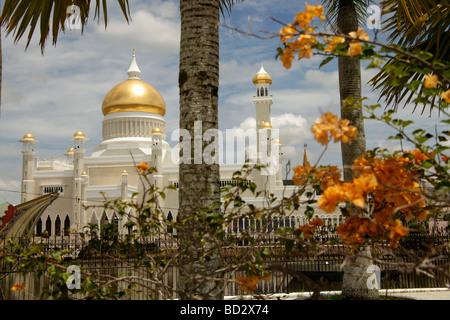 Royal Mosque of Sultan Omar Ali Saifuddin in the capital city Bandar Seri Begawan Brunei Asia - Stock Photo
