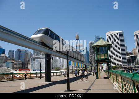 sky train on bridge at Darling harbor, Sydney, Australia - Stock Photo