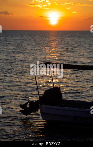 Sunset over Holbox Island, Quintana Roo, Yucatán Peninsula, Mexico, a unique Mexican destination in the Yucatan - Stock Photo