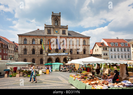 Weimar, Germany, Europe - Town Hall and Market Place in summer - Stock Photo