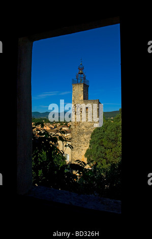 The belfry and wrought iron bell cage. Vaison La Romaine, Provence, France - Stock Photo