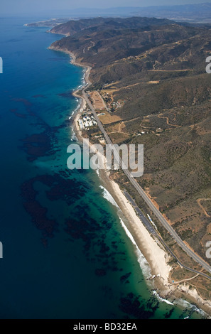 Aerial view of the Malibu Coast looking northwest from Sequit Point towards Santa Barbara. - Stock Photo