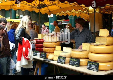 Borough Market Cheese Seller, Borough, London - Stock Photo