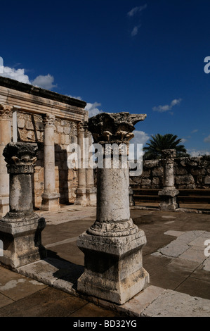 Remains of the 4th-century synagogue at Capernaum or Kfar Nahum established during the time of the Hasmoneans, located - Stock Photo