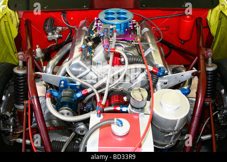 Heavily modified Chevrolet V8 engine in a drag racing car - Stock Photo