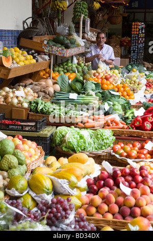 Fruit and vegetable stall in Mercado dos Lavradores (The Workers Market), Funchal, Madeira - Stock Photo
