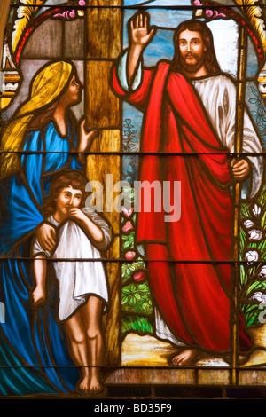 Stained Glass in St Matthew s Lutheran Church King Street Charleston South Carolina USA - Stock Photo