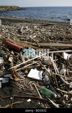 waste debris washed up on sea shore - Stock Photo