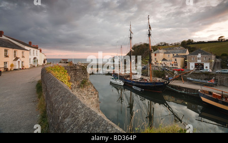Charlestown Harbor with its historic docks and tall ships. Cornwall, England - Stock Photo