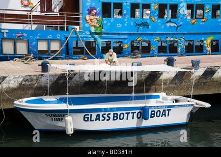 Glass Bottom Boat in Marina Cabo San Lucas Baja California Mexico - Stock Photo