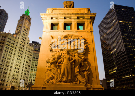Michigan Avenue Bridge and Wrigley Building Chicago Illinois - Stock Photo
