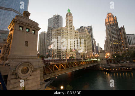 Michigan Avenue Bridge and Esplanade Wrigley Building and Tribune Tower Chicago Illinois - Stock Photo