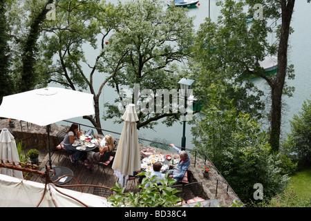 Castle café at Mattsee Lake, Flachgau, Salzburger Land, Land Salzburg, Austria, Europe - Stock Photo