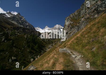 Scenic view of the Ober Gabelhorn and Wellenkuppe Zermatt Valis Switzerland - Stock Photo
