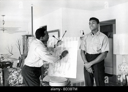 MUHAMMAD ALI  is sketched by his father Cassius,a commercial artist, at their home in Louiseville Kentucky, about - Stock Photo