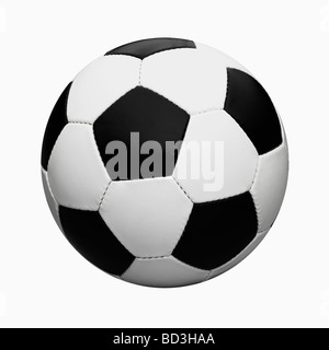 Black and White  Leather Football / Soccer Ball Cut Out On White Background. - Stock Photo