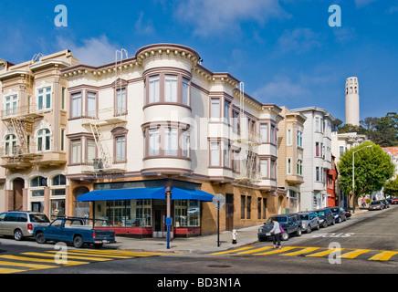 'Filbert Street' in 'North Beach' neighborhood with 'Coit Tower', San Francisco, California. - Stock Photo