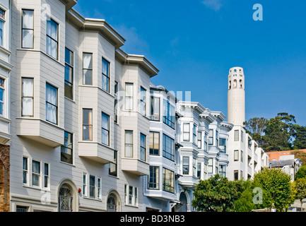'North Beach' neighborhood with 'Coit Tower', San Francisco, California. - Stock Photo