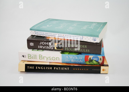 Pile of books on white backgournd - Stock Photo