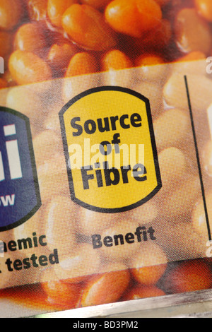 Source of Fibre food can label on a tin of baked beans - Stock Photo