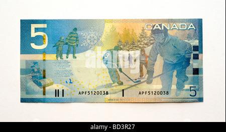 Canada Five 5 Dollar Banknote. - Stock Photo