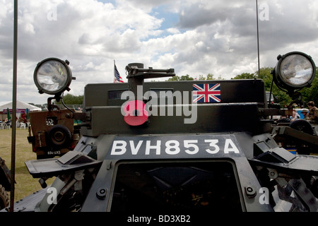 Military armored vehicles are displayed at the Colchester Military Festival in Colchester, Essex, England - Stock Photo
