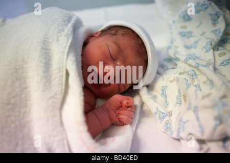 Newborn baby boy sleeps after being born 30 minutes previously - Stock Photo