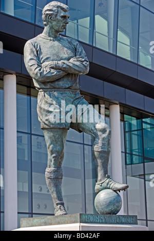 Statue of England Football Captain Bobby Moore Wembley Stadium London England Thursday July 02 2009 - Stock Photo