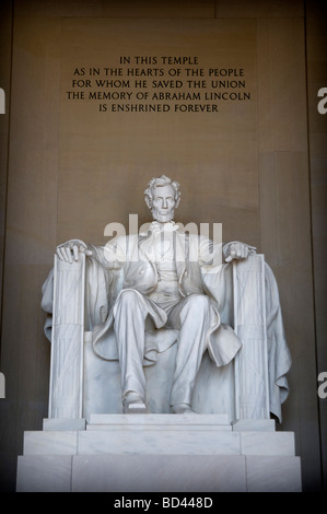 Statue of Abraham Lincoln at the Lincoln Memorial in Washington DC - Stock Photo