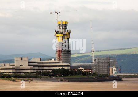 Tall New Building Being Constructed in Swansea Marina, West Glamorgan, South Wales, U.K. - Stock Photo
