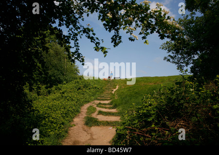 Looking up to the top of Parliament Hill, Hampstead Heath, Hampstead, London, UK - Stock Photo