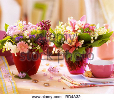 Small posies of spring flowers as table decoration stock photo small posies of spring flowers as table decoration stock photo mightylinksfo