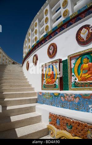 Details of Shanti Stupa, Changspa village in Leh. Ladakh - Stock Photo