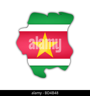 map and flag of Suriname with shadow on white background - Stock Photo